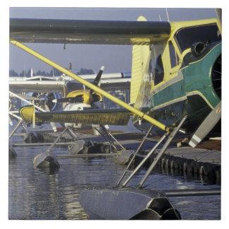 USA, Washington, Seattle, Seaplanes docked on Tile