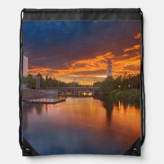 USA, Washington, Spokane, Riverfront Park Drawstring Backpack
