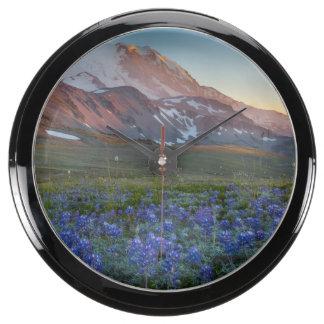 USA Washington State Alpine Lupine Fish Tank Clocks