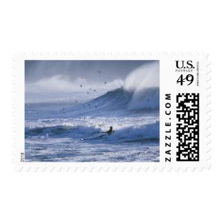 USA, Washington State, La Push. Man kayak Postage