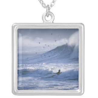 USA, Washington State, La Push. Man kayak Silver Plated Necklace