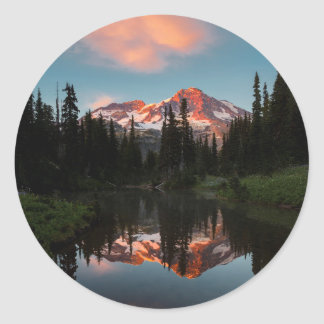 USA, Washington State. Mt. Rainier Reflected Classic Round Sticker