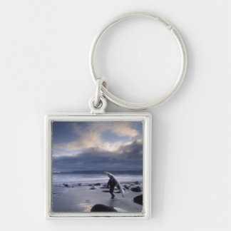 USA, Washington State, Olympic National Park. Silver-Colored Square Keychain
