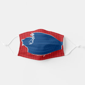 USA Washington State Stars and Stripes Map Cloth Face Mask