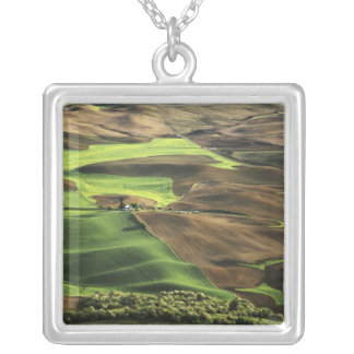 USA, Washington. View of Palouse farm country Silver Plated Necklace