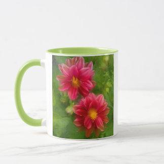 USA, Washington, Whidbey Island. Dahlia montage Mug
