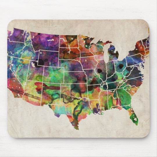 USA Watercolor Map Mouse Pad