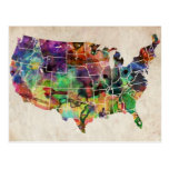 USA Watercolor Map Post Card