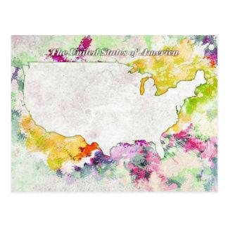 USA Watercolor Postcard