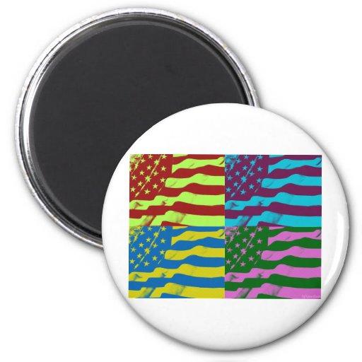 USA Waving FLag HQ PopArt 2 Inch Round Magnet