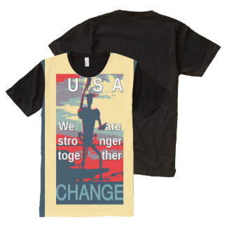 """USA """"we are stronger together"""" Hilary Clinton All-Over-Print Shirt"""