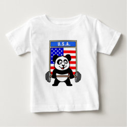 Baby Fine Jersey T-Shirt with USA Weightlifting Panda design