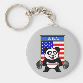 USA Weightlifting Panda Basic Round Button Keychain