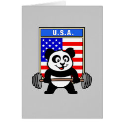 Greeting Card with USA Weightlifting Panda design