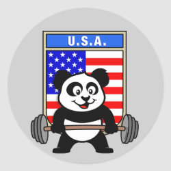 Round Sticker with USA Weightlifting Panda design