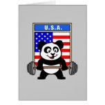 USA Weightlifting Panda Greeting Card