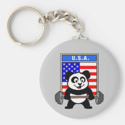 Basic Button Keychain with USA Weightlifting Panda design