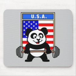 Mousepad with USA Weightlifting Panda design