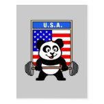 USA Weightlifting Panda Post Cards
