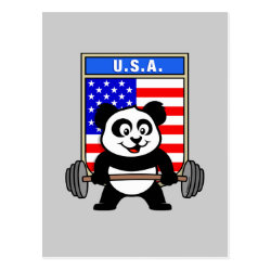 Postcard with USA Weightlifting Panda design