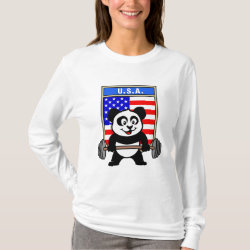 Women's Basic Long Sleeve T-Shirt with USA Weightlifting Panda design