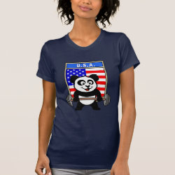 Women's American Apparel Fine Jersey Short Sleeve T-Shirt with USA Weightlifting Panda design