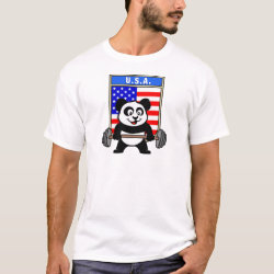 Men's Basic T-Shirt with USA Weightlifting Panda design