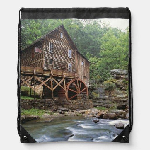 USA, West Virginia, Babcock SP. Rustic Glade Drawstring Bags