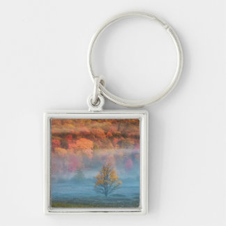 USA, West Virginia, Davis. Misty valley and Silver-Colored Square Keychain
