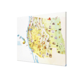 USA, western states of America, map Canvas Print