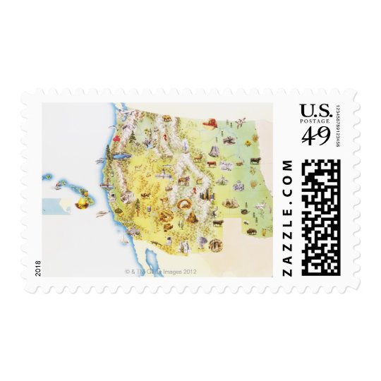USA, western states of America, map Postage