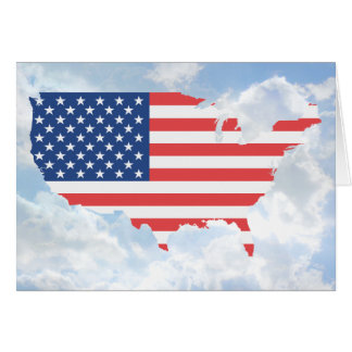 USA with Flag - Horz Greeting Card