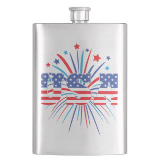 USA with red white and blue fireworks Flask