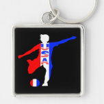 USA Women's Soccer Logo Silver-Colored Square Keychain