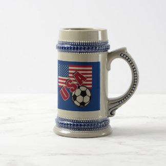 USA World Soccer Fan Tshirts 18 Oz Beer Stein