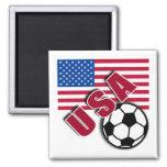 USA World Soccer Fan Tshirts 2 Inch Square Magnet