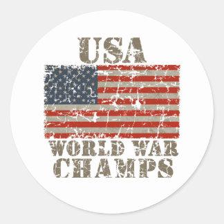 USA, World War Champions Classic Round Sticker