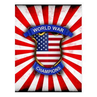 USA World War Champions Post Cards
