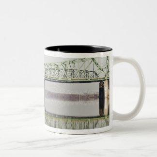 USA, WV, Parkersburg. Parkersburg-Belpre Two-Tone Coffee Mug