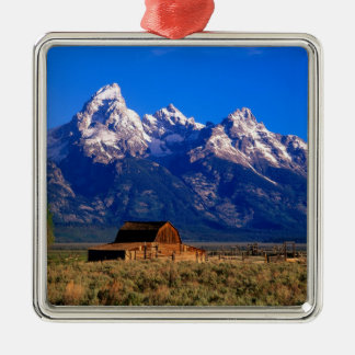 USA, Wyoming, Grand Teton National Park, Morning Square Metal Christmas Ornament