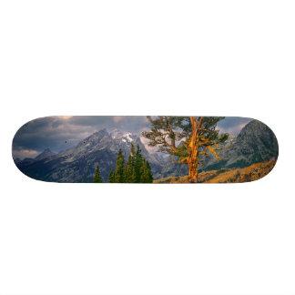 USA, Wyoming, Grand Teton NP. Sunrise greets a Skateboard Deck
