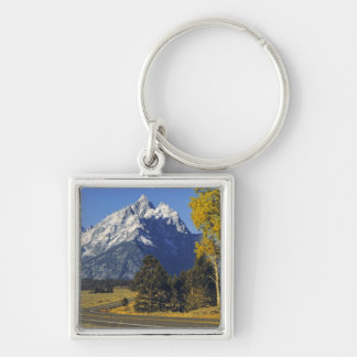 USA, Wyoming, Grand Teton NP. Teton Parkway Silver-Colored Square Keychain