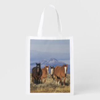 USA, Wyoming, near Cody Group of horses, Heart Reusable Grocery Bag