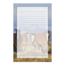 USA, Wyoming, near Cody Group of horses, Heart Stationery