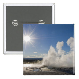 USA, Wyoming, Sun over steaming thermal pool Pinback Button