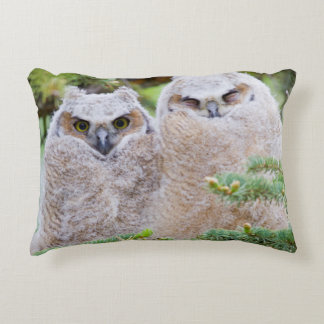 USA, Wyoming, two fledged Great Horned Owl Decorative Pillow