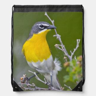 USA, Wyoming, Yellow-breasted Chat Icteria 2 Drawstring Bag