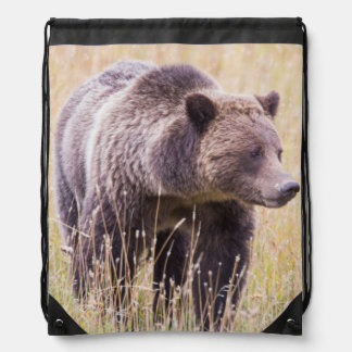 USA, Wyoming, Yellowstone National Park, Grizzly 3 Drawstring Bag
