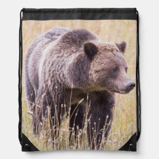 USA, Wyoming, Yellowstone National Park, Grizzly 3 Drawstring Bag