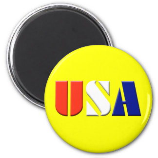 USA  (yellow) 2 Inch Round Magnet